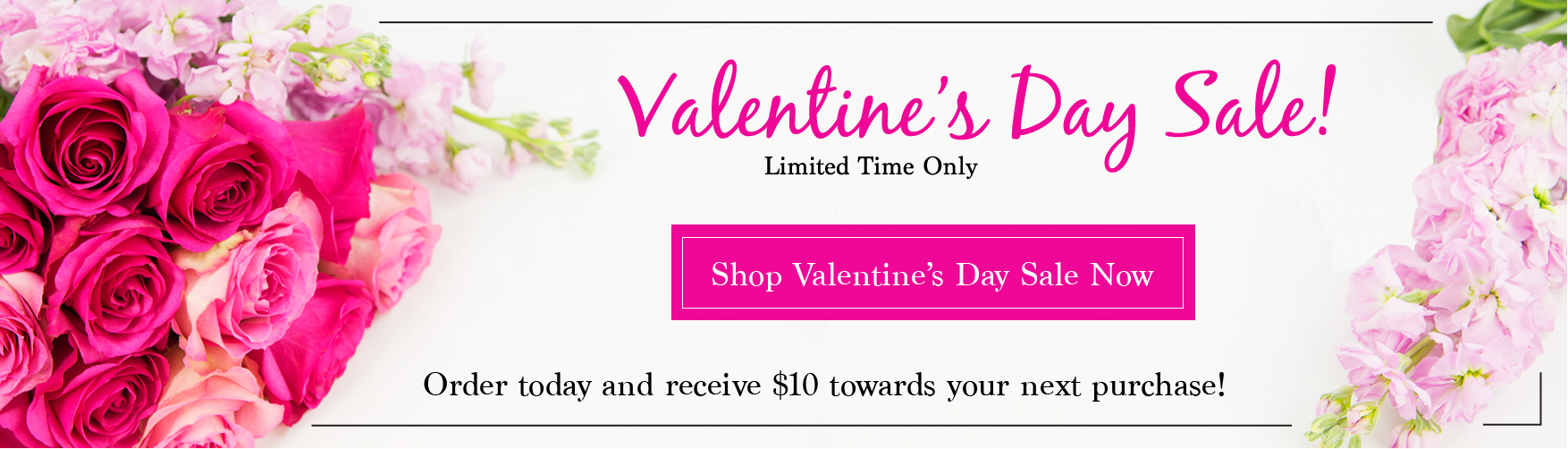 KaBloom Homepage Banner - Vday 2016 $10 off your next purchase