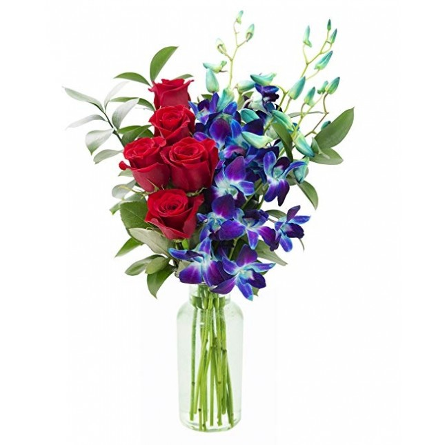 Sapphire Red Orchids (Fresh Red Roses and Exotic Blue Orchids)